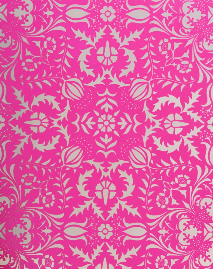 This Wallpaper From Flavor Paper Is A Bright Hot Pink Fl Damask On Metallic Silver Background The Hand Screened Using Water Based