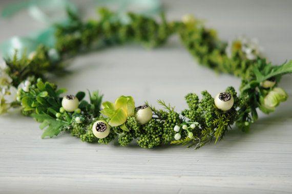 Corona de flores verde articulada. por TheLittleNemo en Etsy