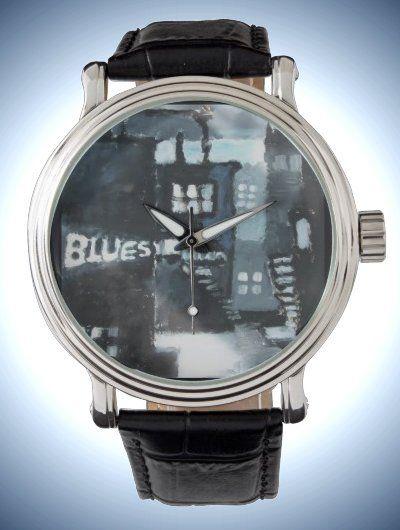 Men's Vintage Black Leather Strap Watch with Contemporary Fine Art decor 'Blues'