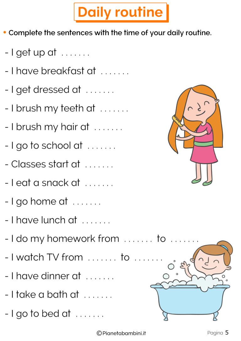 Azioni Quotidiane in Inglese: Esercizi per la Scuola Primaria
