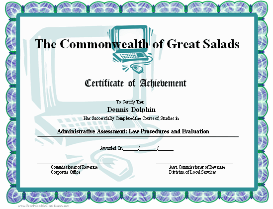 This certificate of achievement has an illustration of a desktop computer certificate format certificate sample of computer education 2017 2018 studychacha pics online sample certificates computer certificate format yadclub Gallery