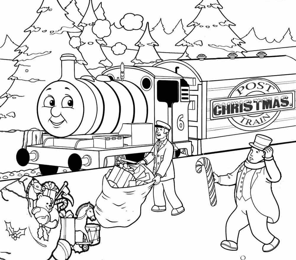 Christmas Thomas The Train Coloring Pages Free
