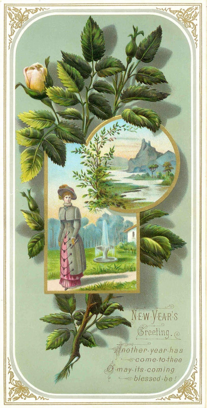 Free antique clip art victorian new years greeting card