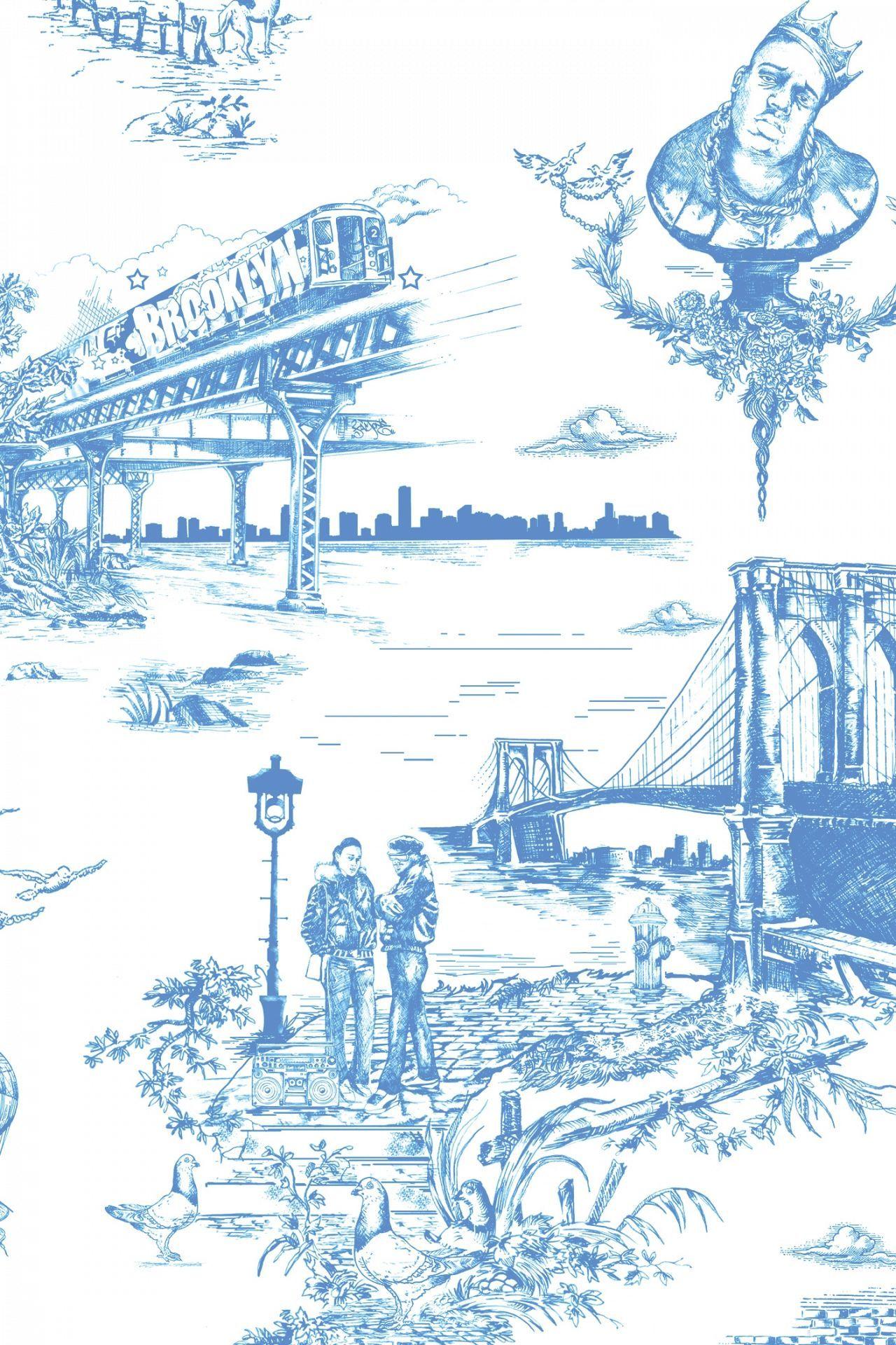 Brooklyn Toile Toile wallpaper, Carroll gardens brooklyn