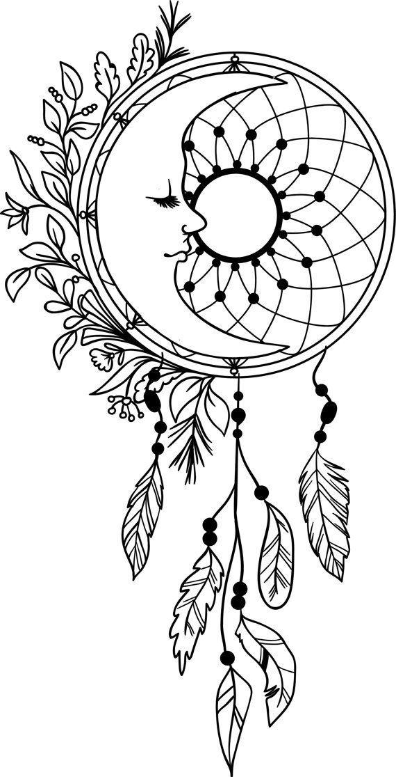 Moon Dream Catcher Feathers Vinyl Decal Dreamcatcher Mandala ...