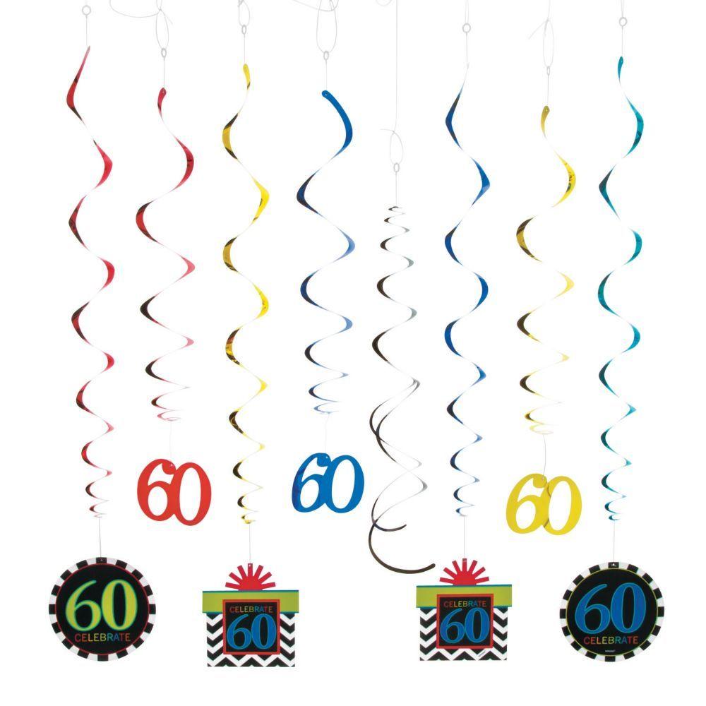 60th Birthday Celebration Hanging Swirl Mega Pack