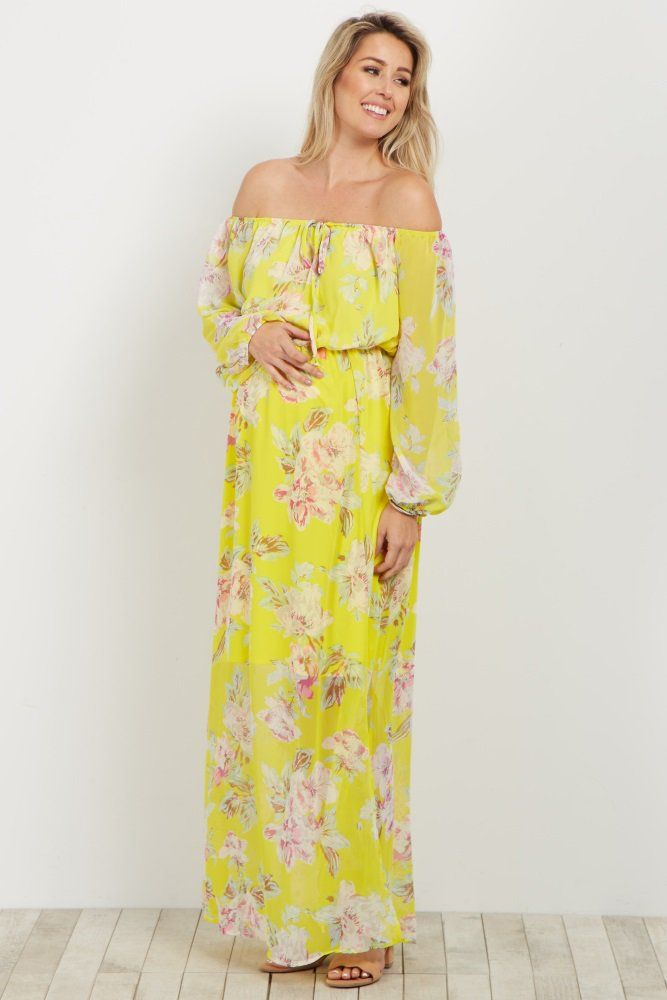f54d4f5ce5be0 Yellow Floral Off Shoulder Maternity Maxi Dress | 1.Mom 2 Be ...