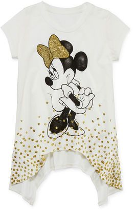 Childs White Tee Shirt Disney Minnie Mouse Glitter Bow