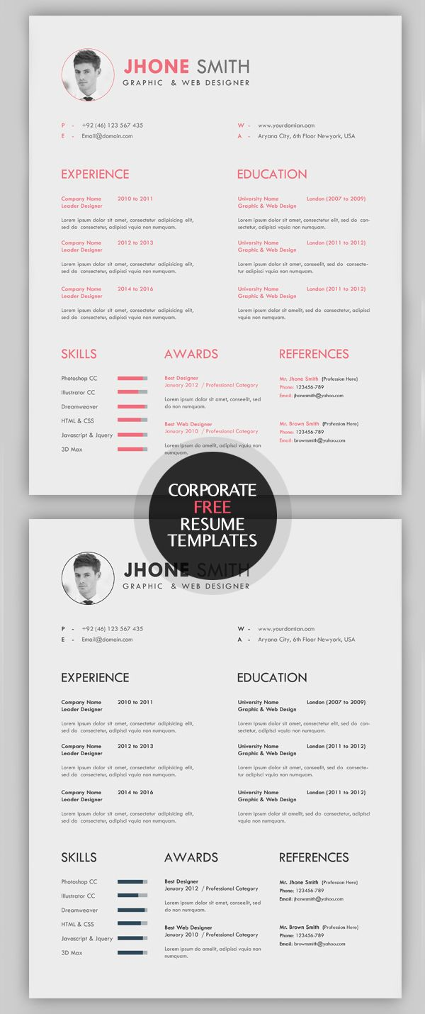Beautiful Creative Free Resume Templates Cleanly Organized And Labeled. All Resume  Templates Are Easy To Customized To Meet All You Needs, Available In