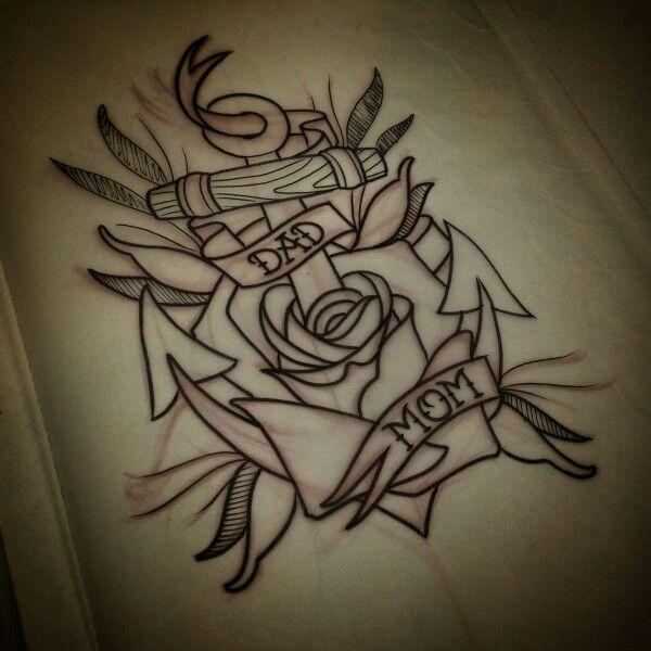 Mom Dad Rose Anchor Tattoo Mom Tattoos Dad Tattoos