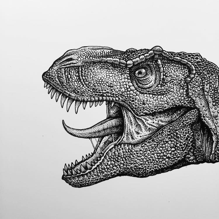 Artist Creates Edgy Illustrations Dissecting Anatomy of Dinosaurs and Other Animals
