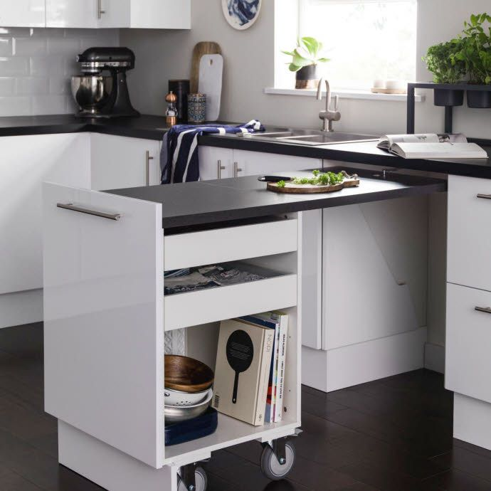 Pull out kitchen counter table with storage! Komfortwunder