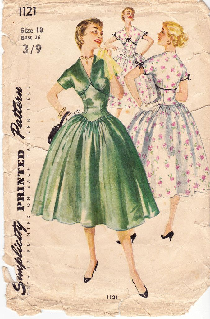 1950s Simplicity 1121 Full Bouffant Skirt Dress Vintage Sewing ...