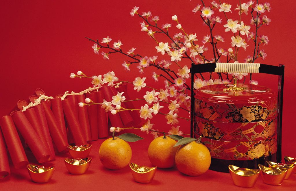 Greeting Cards Chinese New Year With Ornament Fruit And