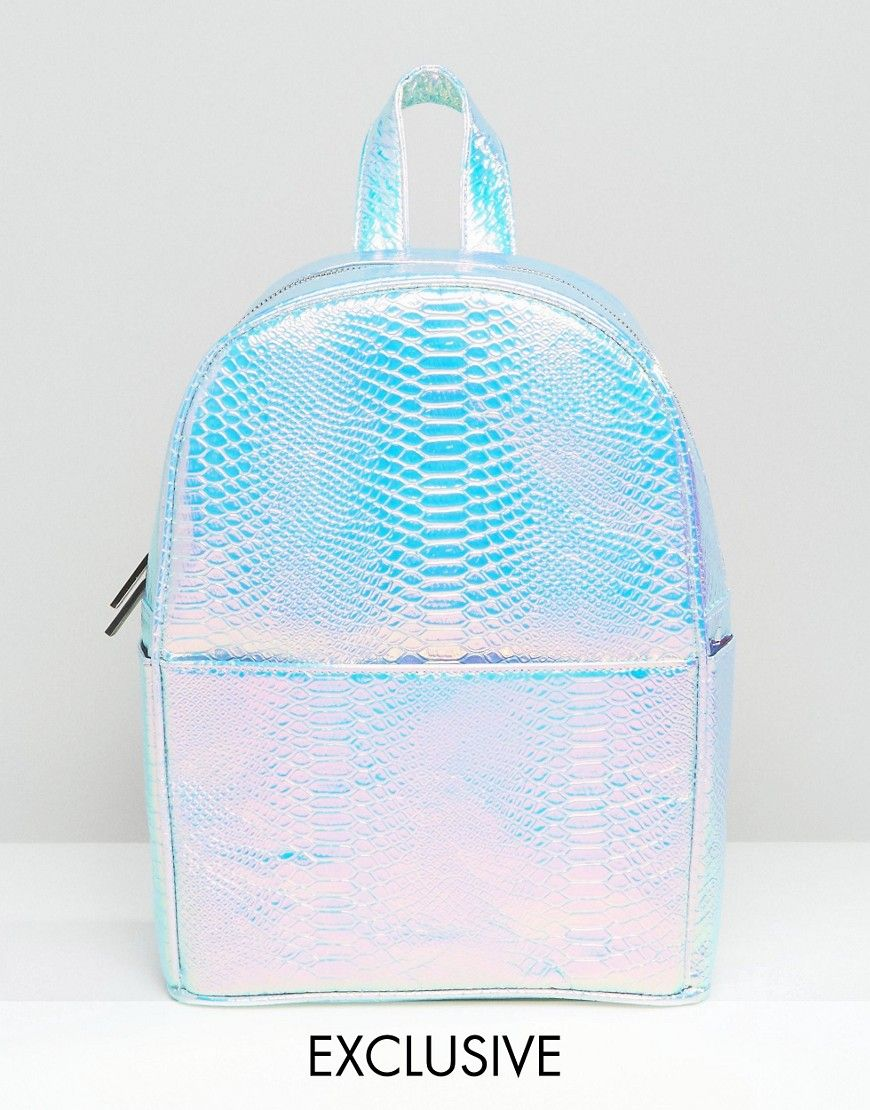 Skinnydip Exclusive Holographic Faux Snake Backpack in