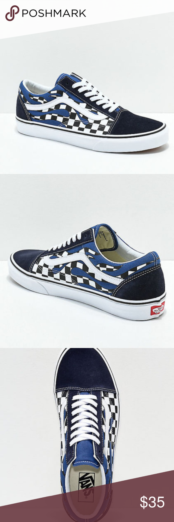 4de2b93f0c Vans Old Skool Checkerboard Flame Navy   White Skate Shoes Add classic  skate styling to your everyday looks with the Old Skool Checkerboard Flame  Navy ...