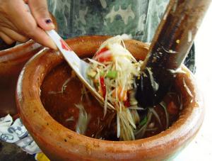 Som Tam Papaya salad.  I ate this every single day. I want to go back!