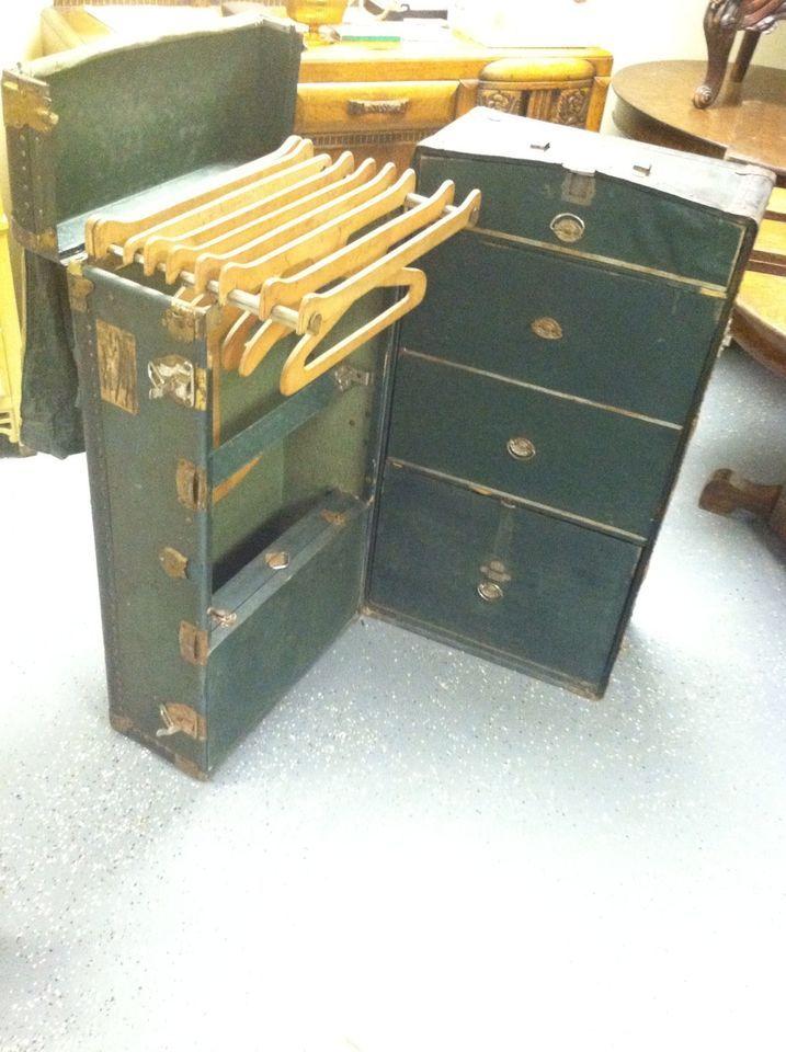 Huge Antique Vintage Neverbreak Steamer Trunk Case L