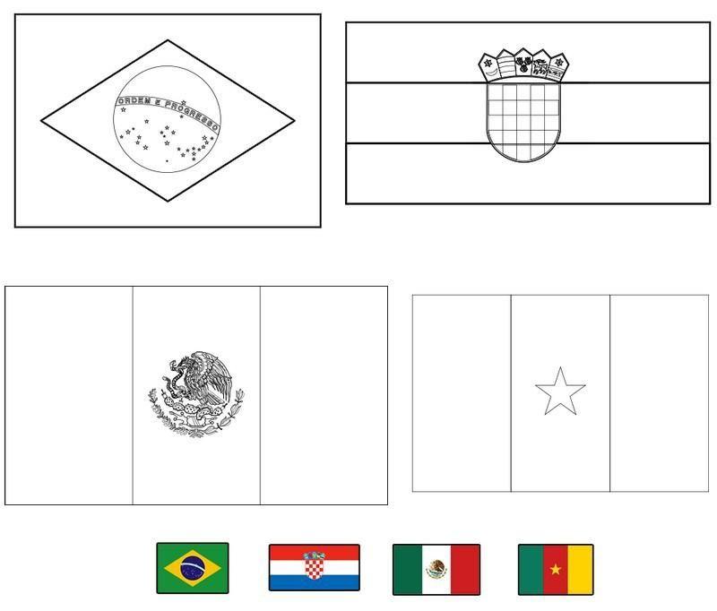 Banderas del mundial de fútbol Brasil 2014 para colorear | Mundial ...