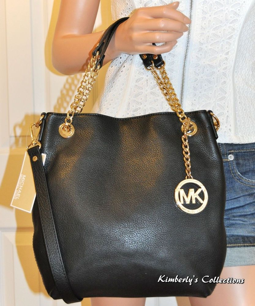 0713e4af6203 MICHAEL KORS Jet Set Chain Black Leather Shoulder Bag Purse NWT  MichaelKors   Satcheltotebagshoulderbag