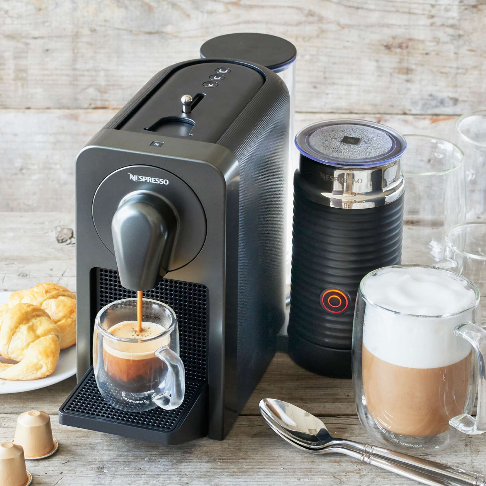 nespresso prodigio espresso machine with milk frother | sur la