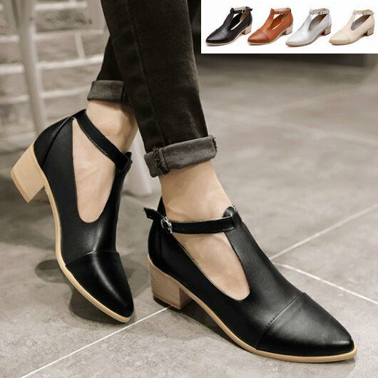 Aliexpress.com   Buy Summer Retro Vintage Leather T Strap Mary Janes  Oxfords Court Casual Shoes Women Medium Hells Pointed Toe College Pumps  Sandals from ... 86ca2251f88