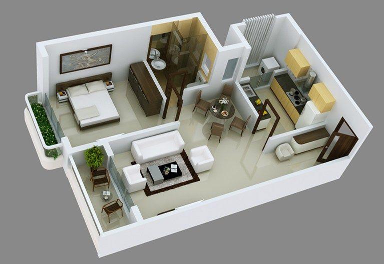 1 Bhk Flat Design Plans | Home Design
