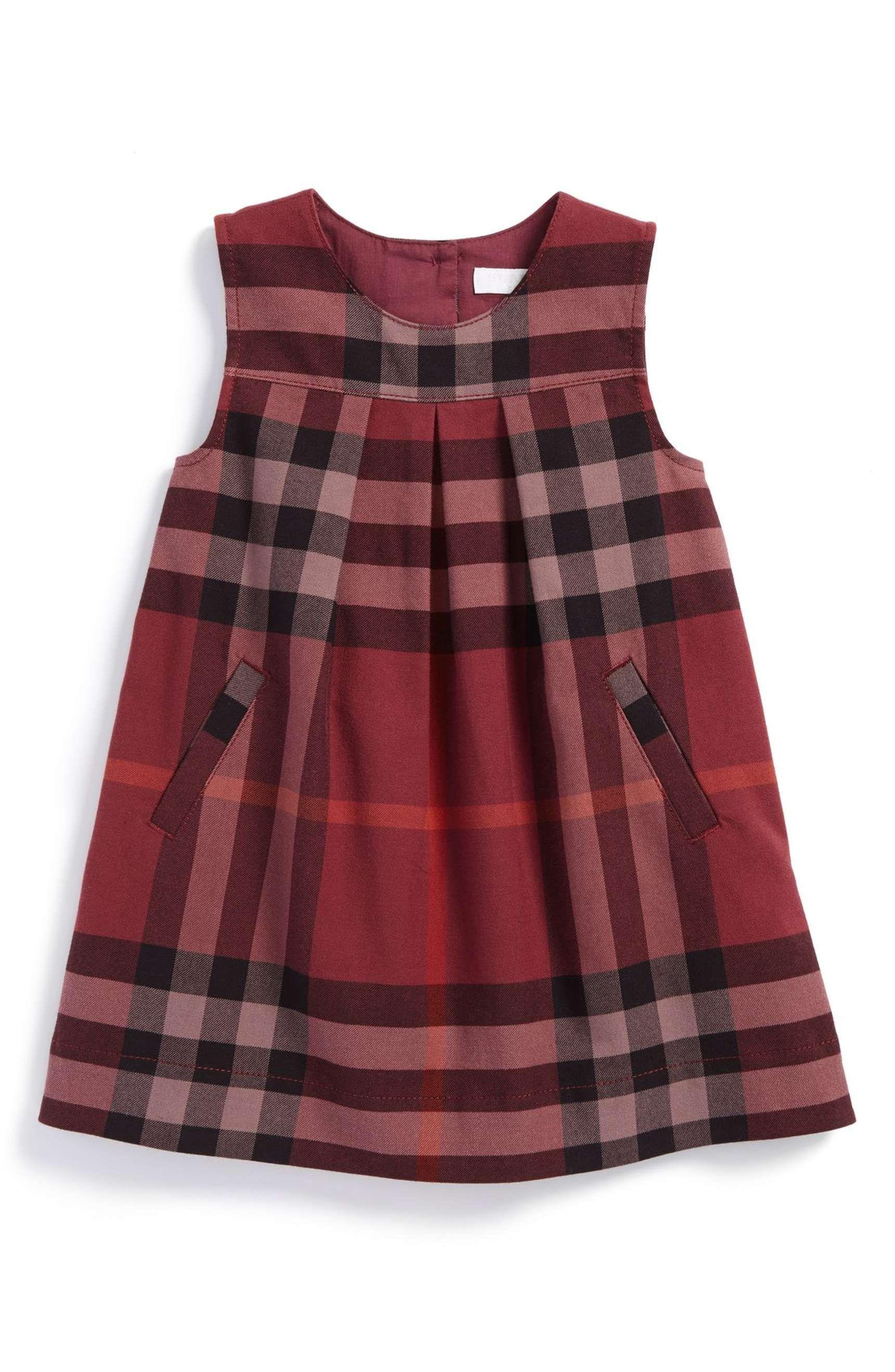 Main Image Burberry Check Print Sleeveless Dress Baby Girls