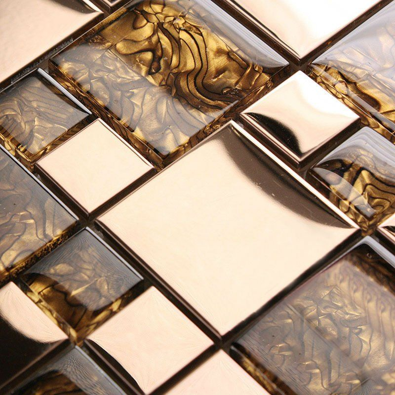 mosaic tiles wall deco mesh amber pattern crystal glass stainless ...