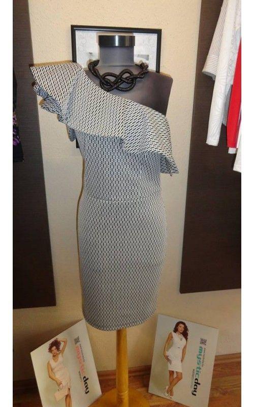 365b40c829 Envy fekete - fehér apró mintás ruha | envy fashion | Ruhák, Fekete ...