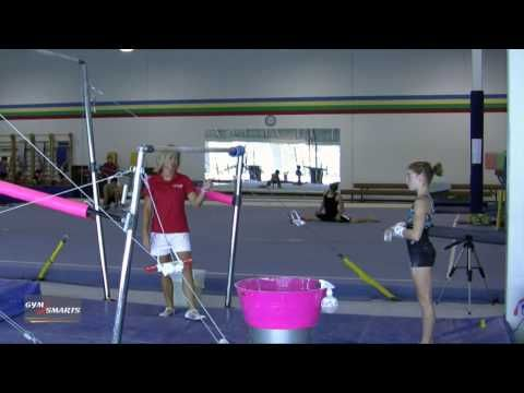 stoop to handstand  gymnastics bar drill