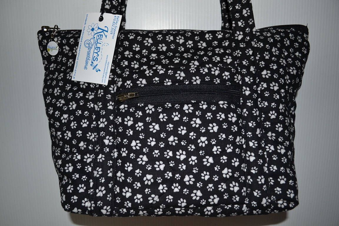 Quilted Fabric Handbag Purse Black With Small White Dog Paws By Kelleyscreations On Etsy