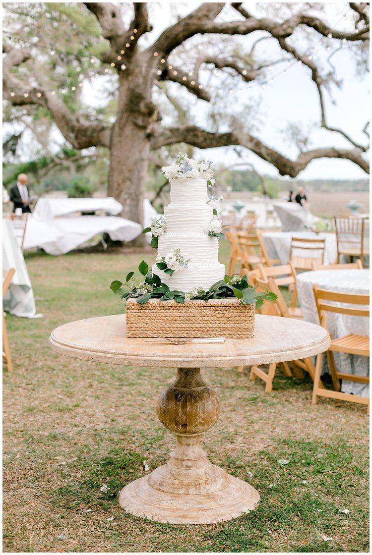 Seagrass cake stand wedding reception cake florals beach wedding