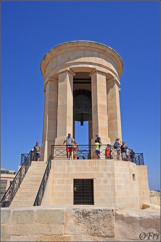The Siege Bell Memorial Overlooking the Great Harbour of Valletta, is the 10-ton bronze Siege Bell memorial that was unveiled by Queen Elizabeth and the President of Malta at the time,
