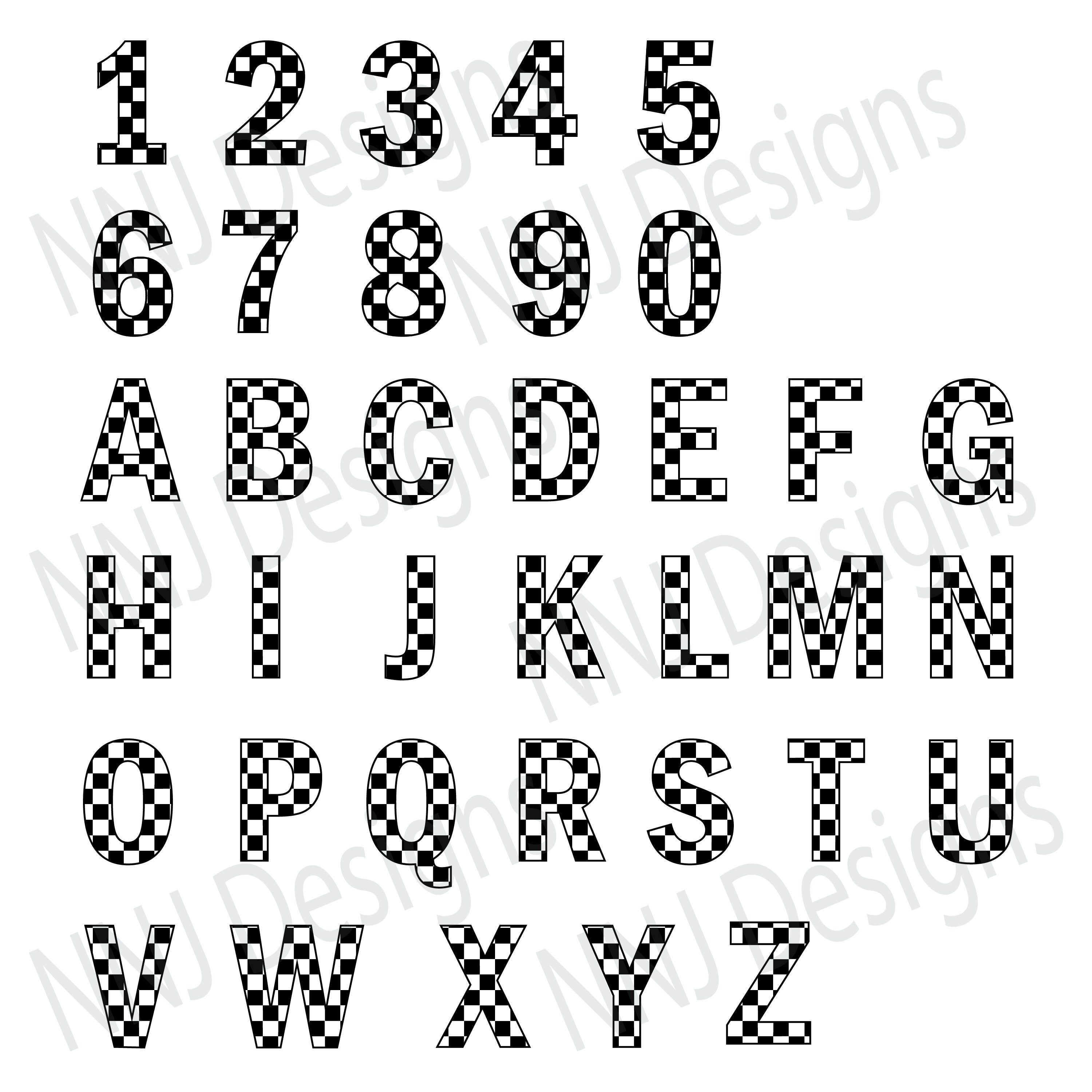 Racing Checkered Pattern Numbers 0 to 9 Alphabet Letter A