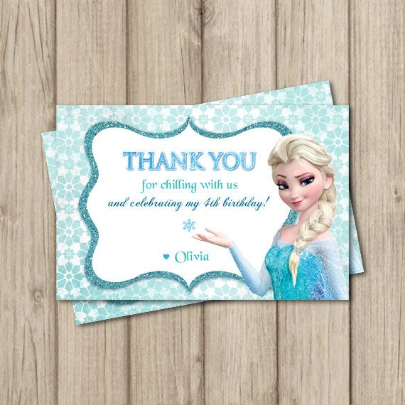 FROZEN BIRTHDAY Thank You Card Elsa Invitation 4x6 Thank You