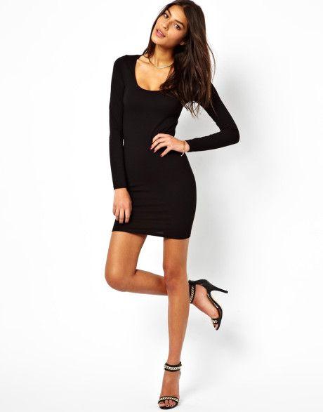 Mini black dress with long sleeves