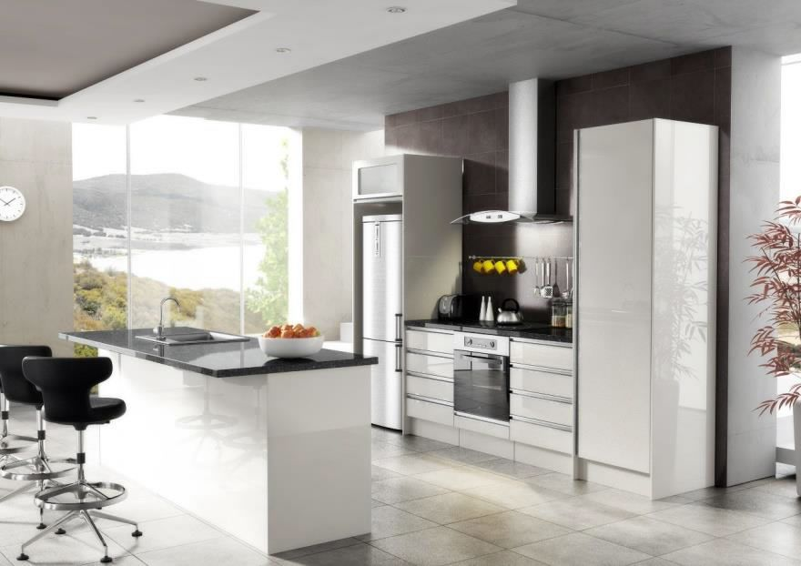$4340.00 EURO High Gloss White With Recessed Handles. Doors MDF Thermal  Wrapped Foil. Carcasses