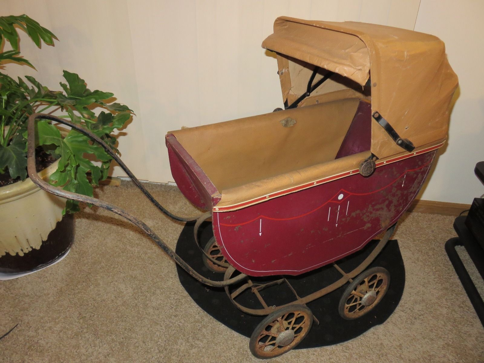 "Vintage 35"" Wood Metal Doll Carriage Buggy Stroller 1940's 50's Very Good   eBay"