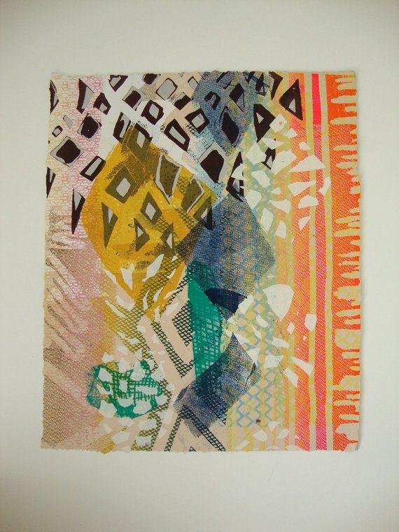 """Fine Art Print : """"Our Sewn Past (pt. 8)"""" hand pulled tapestry abstract screen print  $20"""