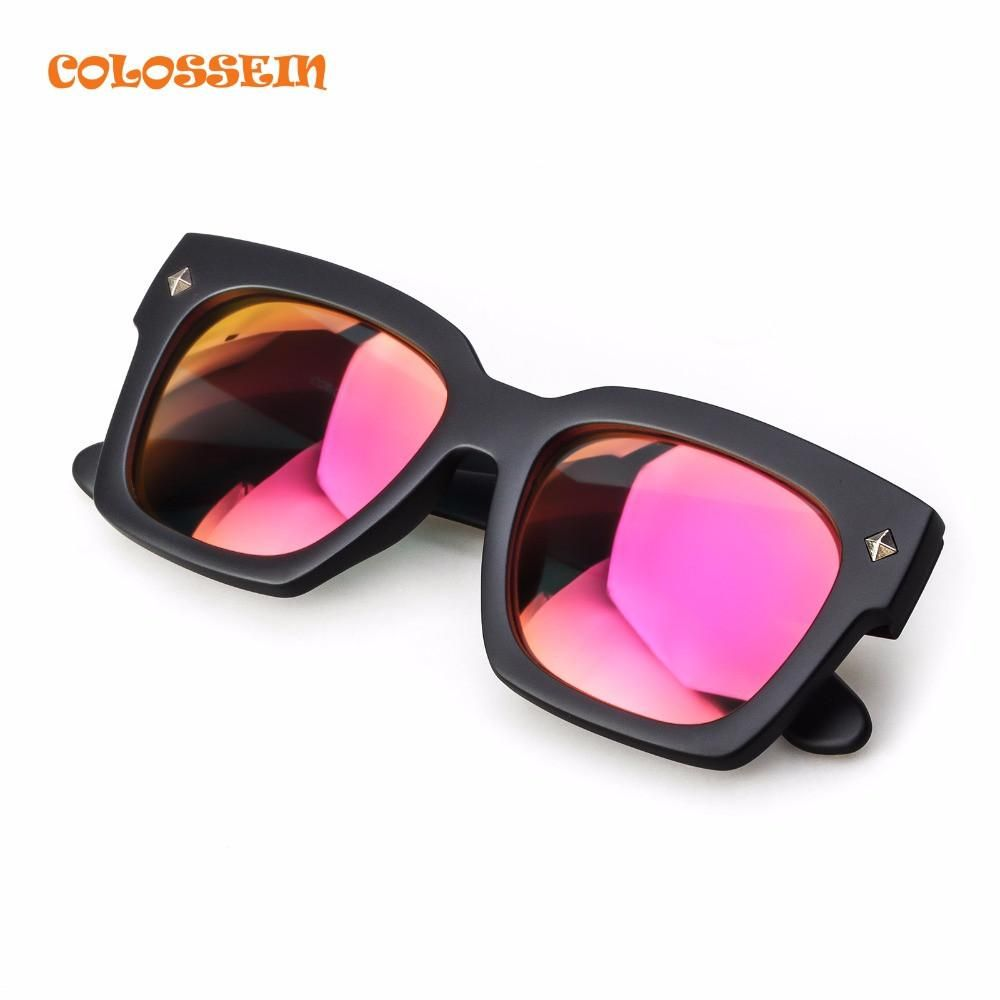 85be357367 COLOSSEIN Orange Label Fashion Sunglasses Women Street Oversized Pink  Polarized Lens Glasses Square Frame Adult Popular