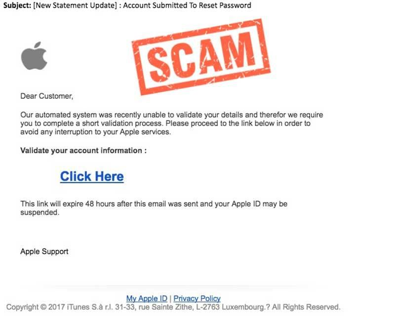 Problem With Your Apple Id Phishing Scam Apple Phishing  Hoax