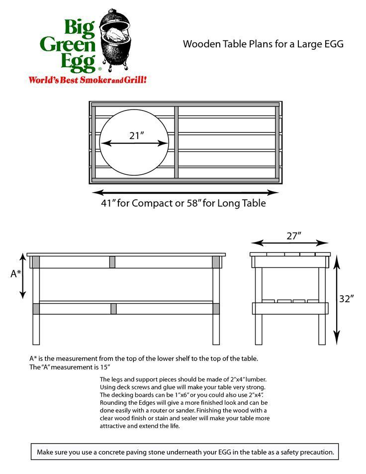 Good DIY Big Green Egg Table With Concrete Top