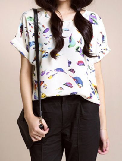 White Bird Print Chiffon Short Turn Up Sleeve Blouse pictures