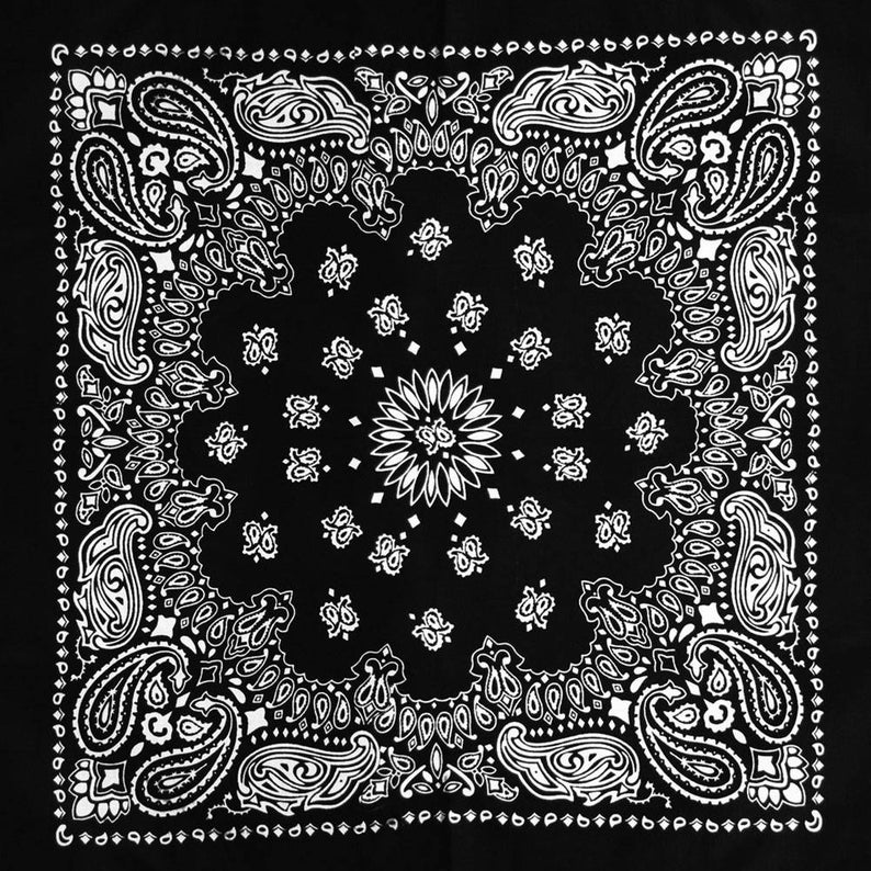 Bandana Black And White Cotton Square Cowboy Style Paisley Etsy Southwestern Art Art Prints Bandana Design
