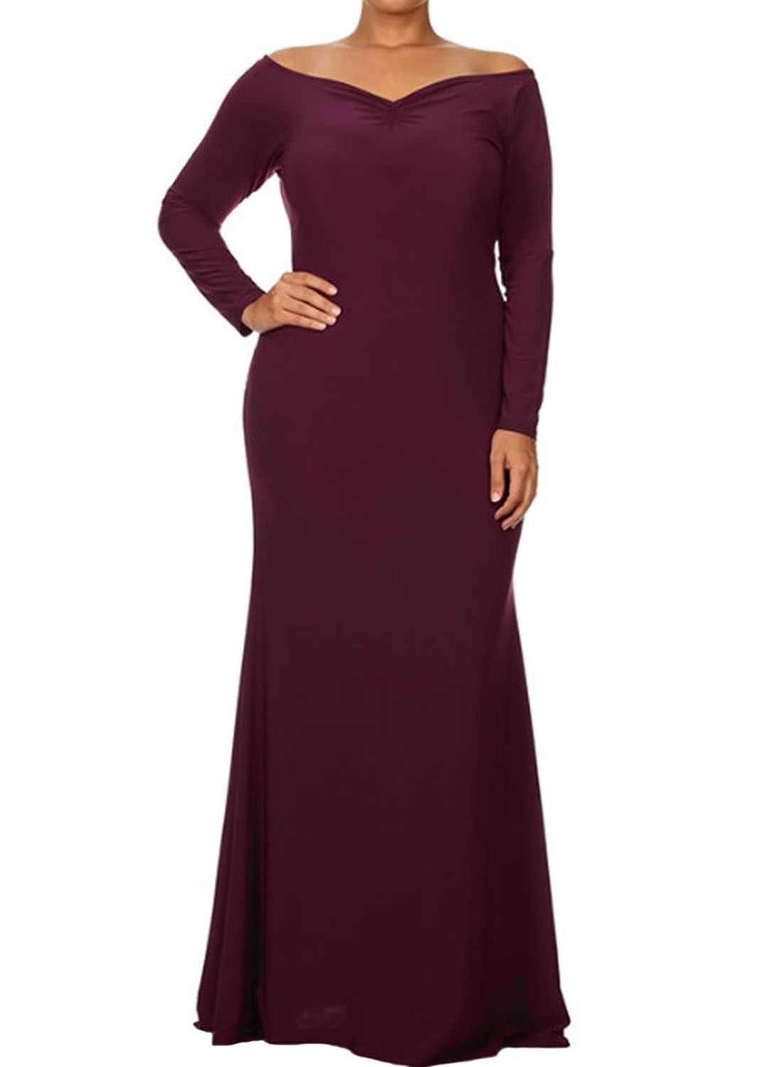 9c4d9e93b22 This stunning maxi is cut from the comfy and breathable cloth. Our solid off  shoulder plus dress is versatile