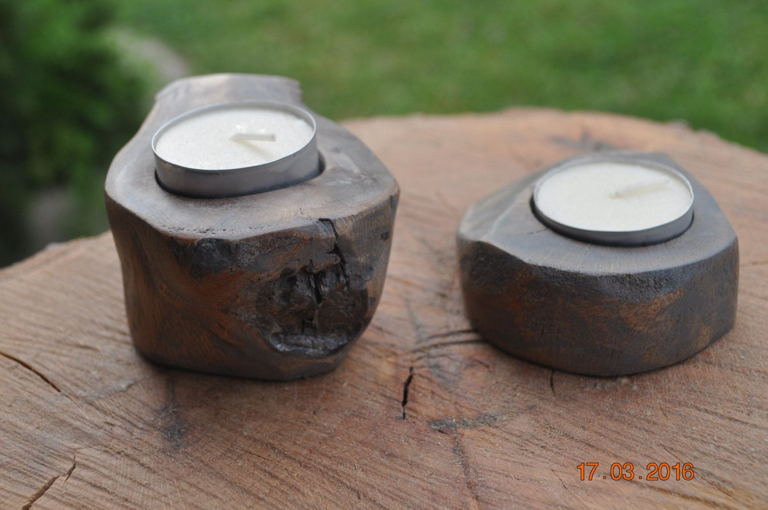 2 Oak Tea cup Candle holders Driftwood Grey by CBF by CrazyBearFlutes on Etsy
