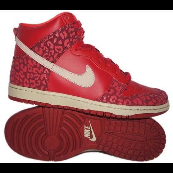 Nike red cheetah leopard print dunks