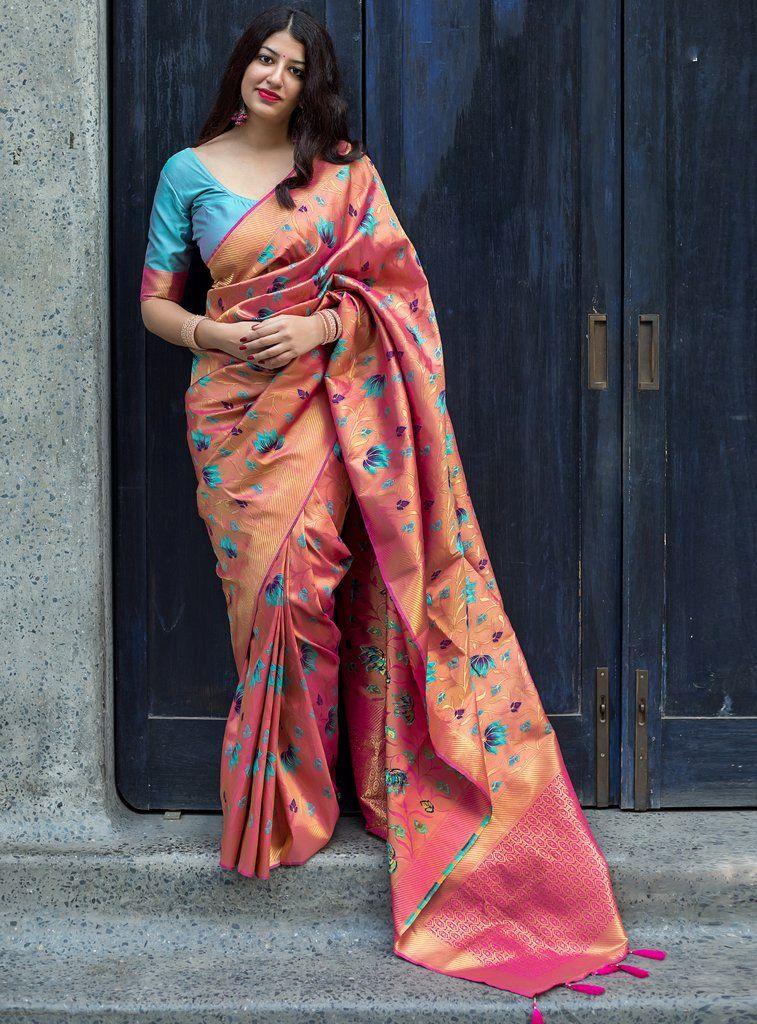 3412f5cf58 Saree. Peach Color Saree, Peach Saree, Blue Saree, Silk Saree Blouse Designs