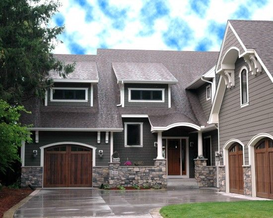 Gray hardy board white trim stones brown carriage doors - Trim colors for white house ...